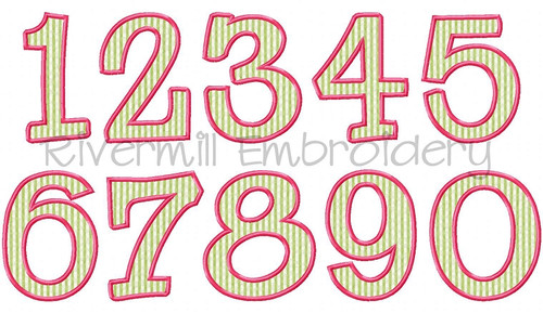 Riley Applique Numbers Machine Embroidery Designs