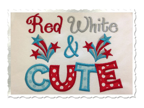Red White & Cute Applique Machine Embroidery Design
