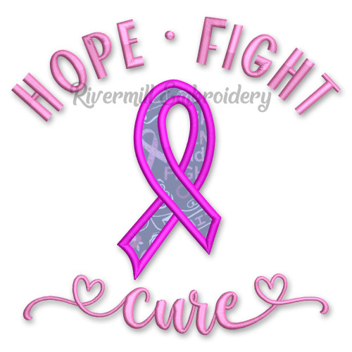 Hope Fight Cure Breast Cancer Awareness Ribbon Applique Machine Embroidery Design