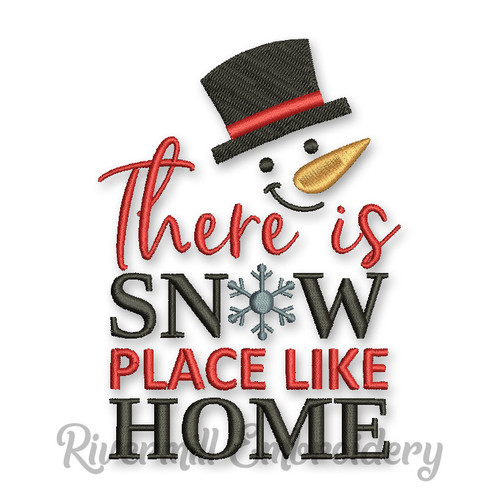 There's Snow Place Like Home Snowman Face Machine Embroidery Design