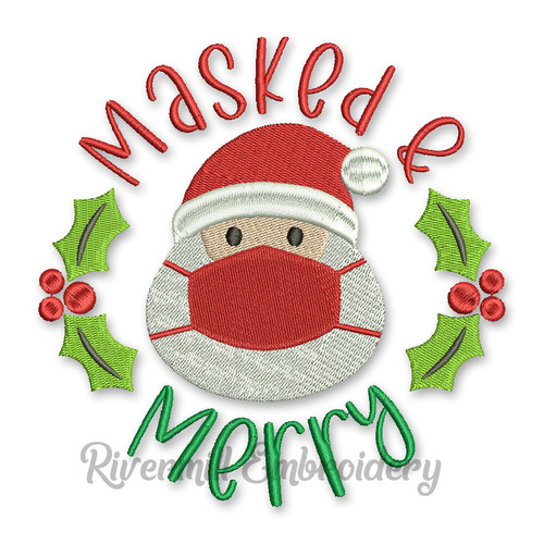Masked and Merry Santa Claus Christmas Machine Embroidery Design
