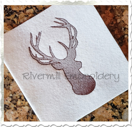 Sketch Buck Deer Head Embroidery Design