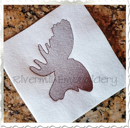 Sketch Style Moose Head Embroidery Design