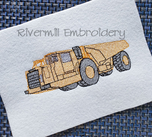 Sketch Style Dump Truck Machine Embroidery Design