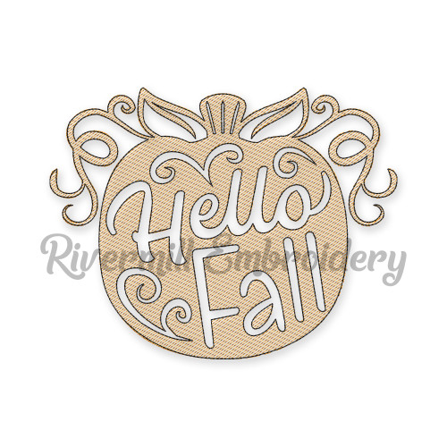 Hello Fall Sketch Style Pumpkin Machine Embroidery Design