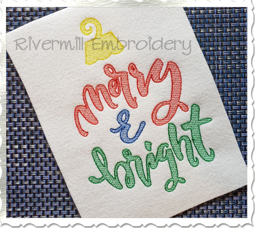 Sketch Style Merry and Bright Ornament Embroidery Design