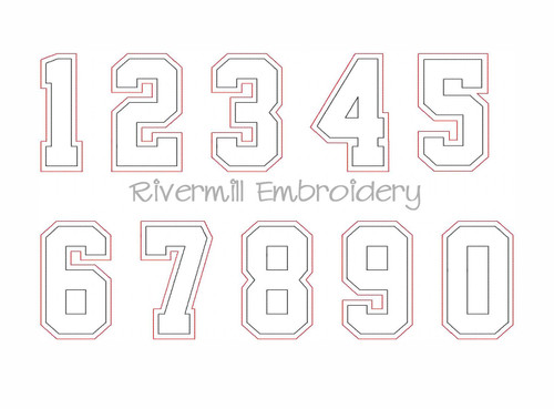 Raggy Double Applique Varsity Athletic Style Numbers Machine Embroidery Designs