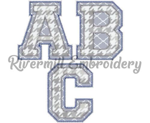 Zig Zag Double Applique Varsity Alphabet Machine Embroidery Font