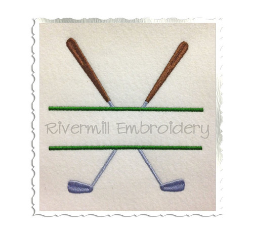 Split Golf Clubs Machine Embroidery Design