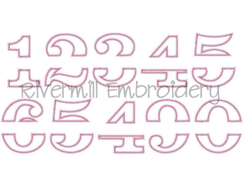 Zig Zag Split Applique Numbers Machine Embroidery Design