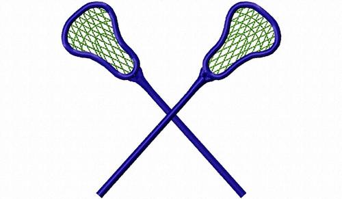 Crossed Lacrosse Sticks Machine Embroidery Design
