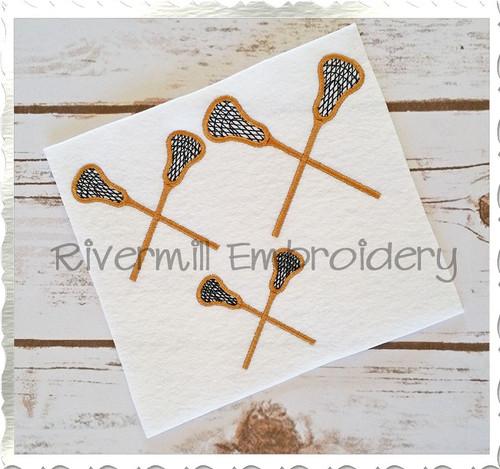 Small Crossed Lacrosse Sticks Machine Embroidery Design