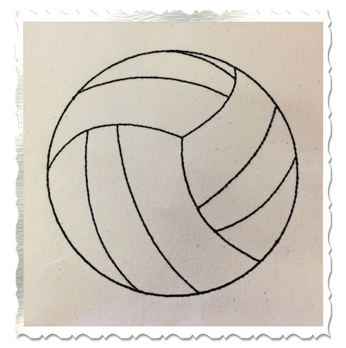 Redwork Style Volleyball Machine Embroidery Design
