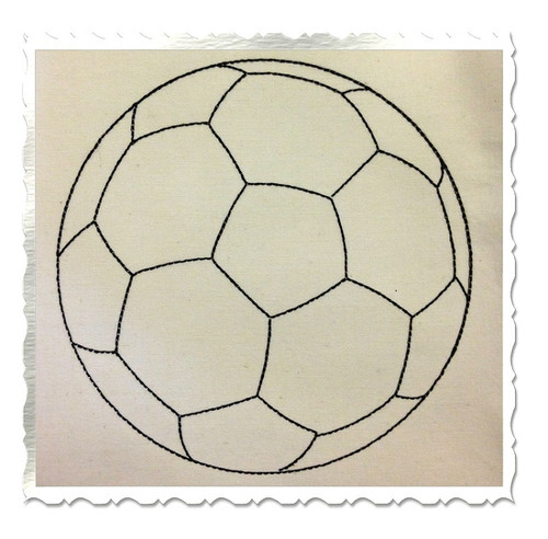 Redwork Style Soccer Ball Machine Embroidery Design
