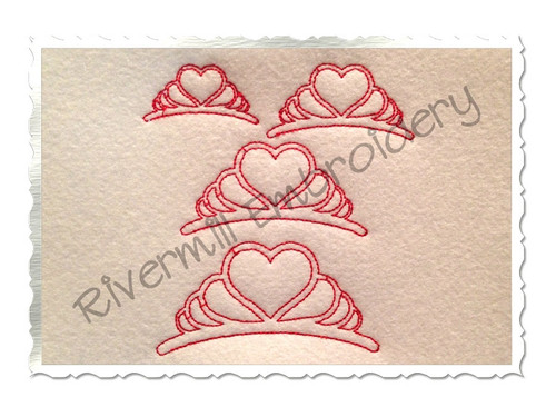 Redwork Style Tiara Machine Embroidery Design