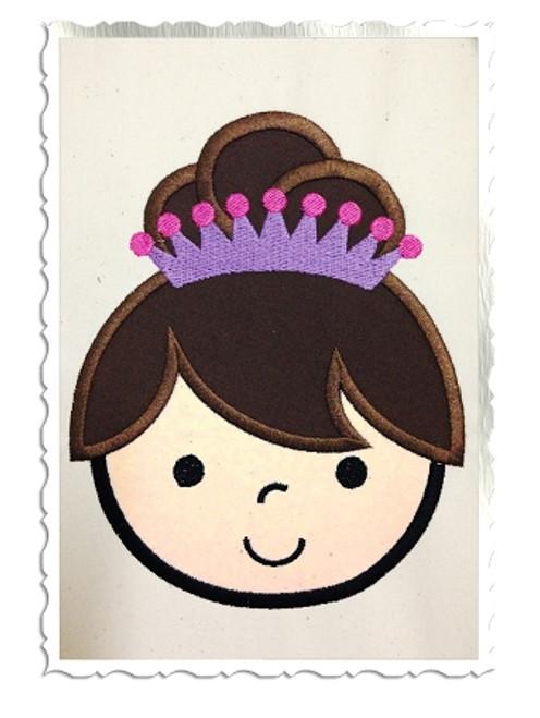 Applique Princess Face Machine Embroidery Design