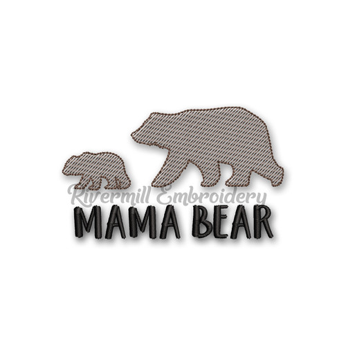Mama Bear & Baby Sketch Machine Embroidery Design