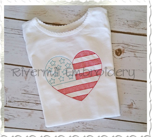 Vintage Style Heart Shaped American Flag Machine Embroidery Design