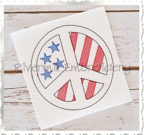 Vintage Style American Flag Peace Sign Machine Embroidery Design
