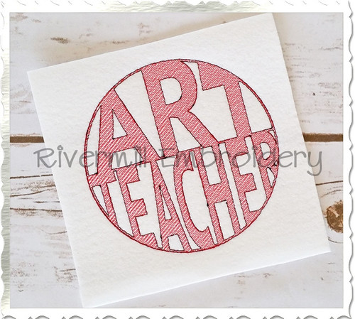 Vintage Style Art Teacher Machine Embroidery Design