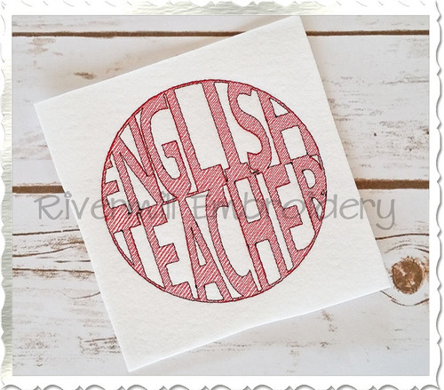 Vintage Style English Teacher Machine Embroidery Design