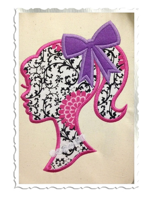 Applique Ponytail Girl With Bow Silhouette Machine Embroidery Design