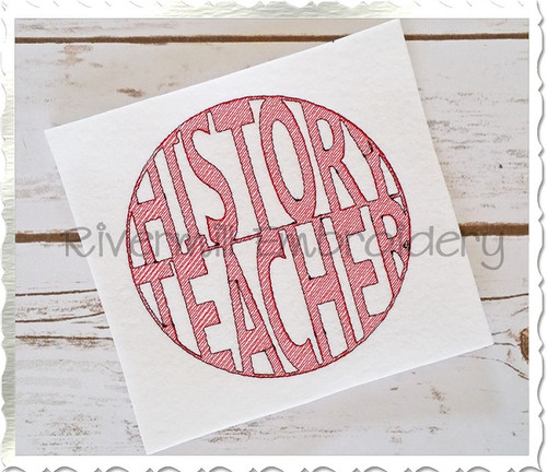 Vintage Style History Teacher Machine Embroidery Design