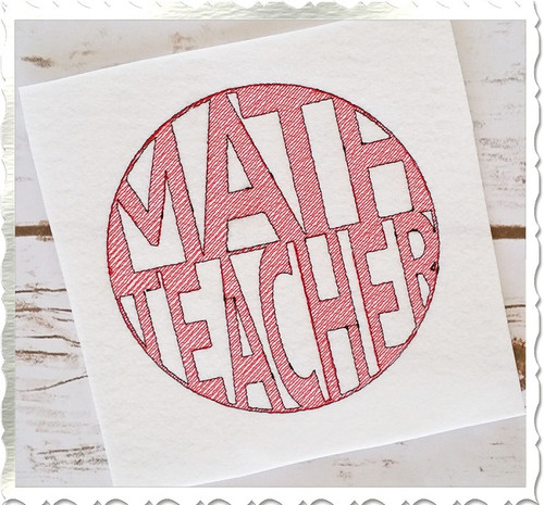 Vintage Style Math Teacher Machine Embroidery Design