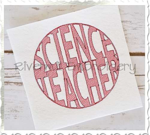 Vintage Style Science Teacher Machine Embroidery Design