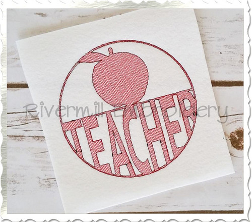 Vintage Style Teacher Machine Embroidery Design