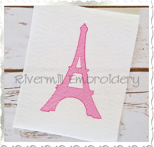 Vintage Style Eiffel Tower Silhouette Machine Embroidery Design