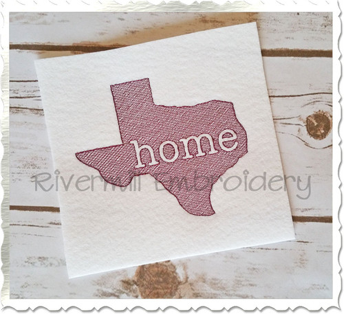 Vintage Sketch Style Texas Home Machine Embroidery Design