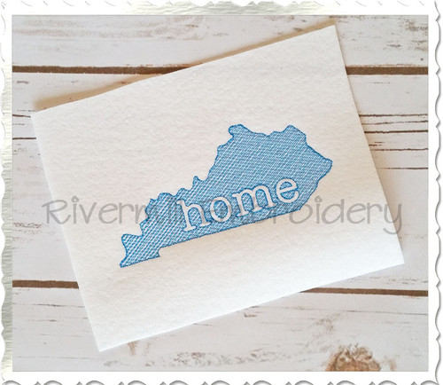 Vintage Sketch Style Kentucky Home Machine Embroidery Design