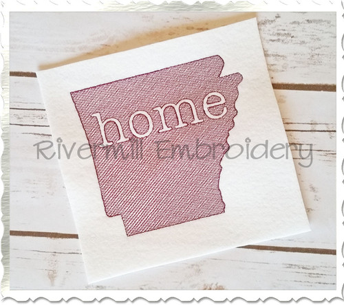 Vintage Sketch Style Arkansas Home Machine Embroidery Design