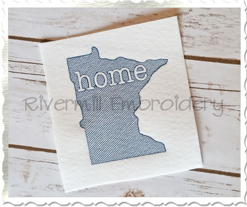 Sketch Style Minnesota Home Machine Embroidery Design