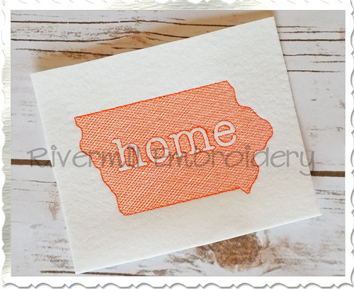 Sketch Style Iowa Home Machine Embroidery Design