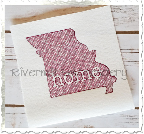 Sketch Style Missouri Home Machine Embroidery Design
