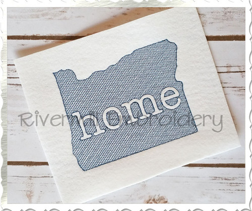 Sketch Style Oregon Home Machine Embroidery Design