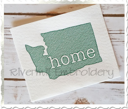 Sketch Style Washington Home Machine Embroidery Design