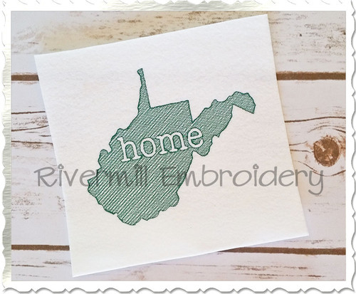 Sketch Style West Virginia Home Machine Embroidery Design