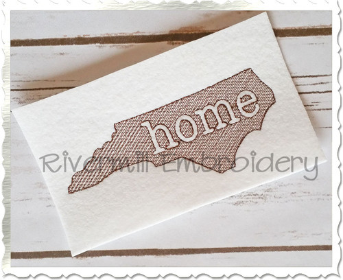 Sketch Style North Carolina Home Machine Embroidery Design