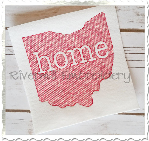 Sketch Style Ohio Home Machine Embroidery Design
