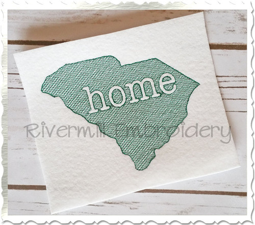 Sketch Style South Carolina Home Machine Embroidery Design