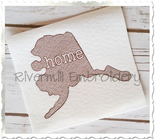 Sketch Style Alaska Home Machine Embroidery Design