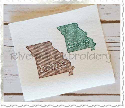 Small Sketch Style Missouri Home Machine Embroidery Design