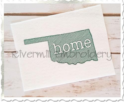 Sketch Style Oklahoma Home Machine Embroidery Design