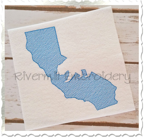 Sketch Style California with Grizzly Bear Machine Embroidery Design