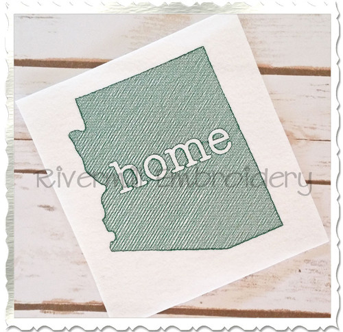 Sketch Style Arizona Home Machine Embroidery Design