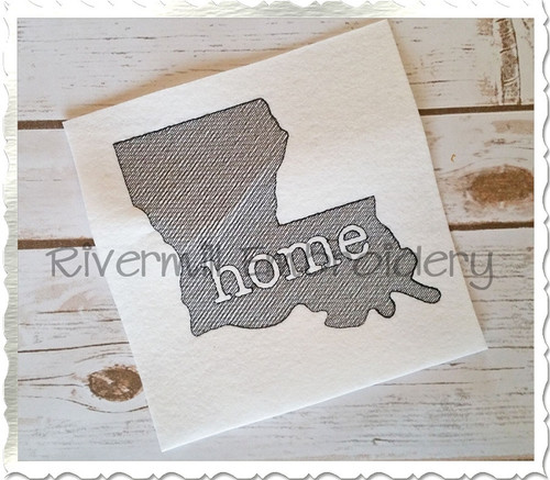 Sketch Style Louisiana Home Machine Embroidery Design