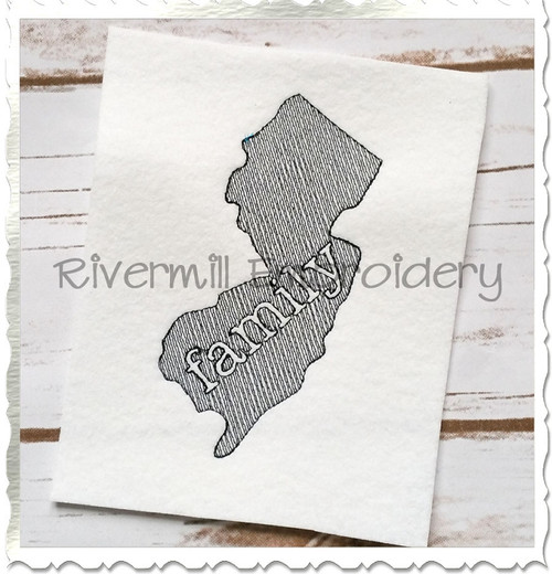 Sketch Style New Jersey Family Machine Embroidery Design
